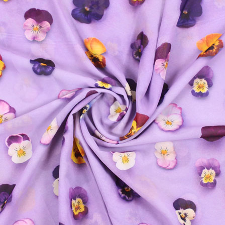 Purple Yellow and White Flower Georgette Silk Fabric-15088